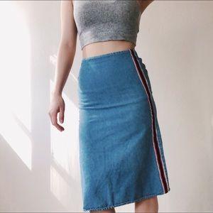{vintage} Sporty Spice Jean Midi Skirt